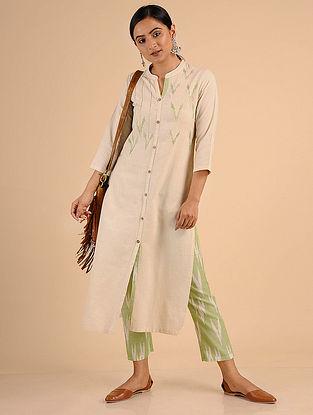 Ivory Green Ikat Cotton Kurta with Embroidery