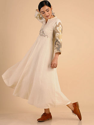 Ivory Embroidered Cotton Dress with Ikat Print Details