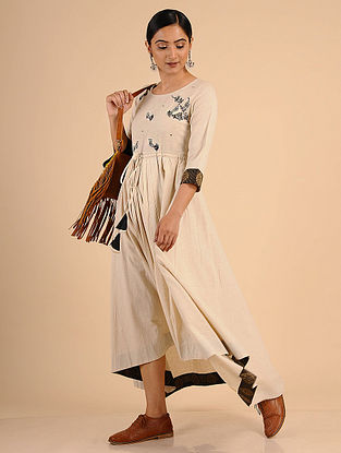 Ivory Embroidered Cotton Dress