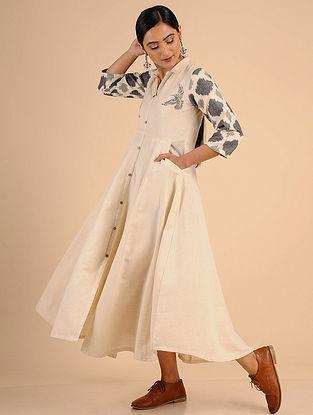 Ivory Embroidered Cotton Anarkali Dress