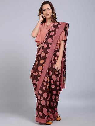 Maroon-Pink Printed Chanderi Saree