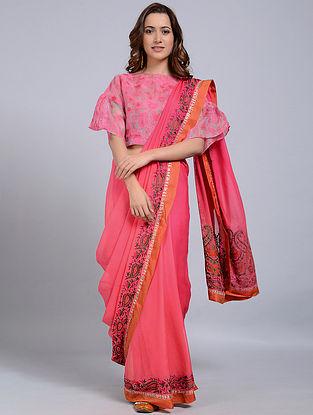 Pink-Orange Embroidered Chanderi Saree