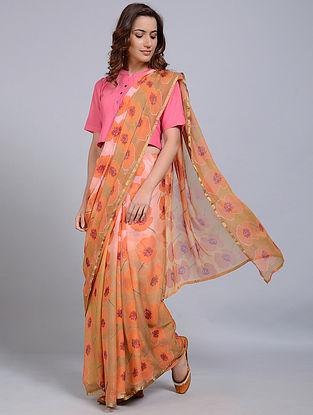 Orange-Yellow Printed Chanderi Saree
