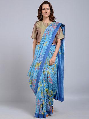 Blue-Ivory Printed Chanderi Saree