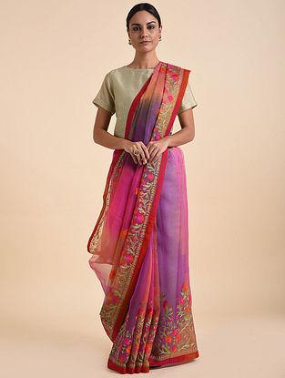Purple-Pink Handwoven Embroidered Silk Saree