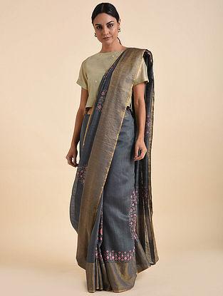 Grey-Pink Handwoven Embroidered Silk Saree