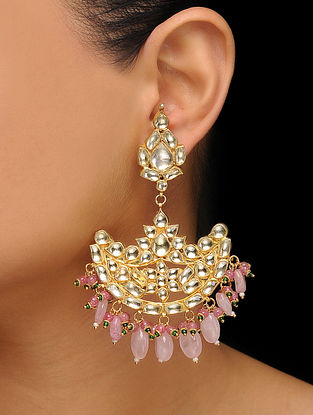 Pink Gold Tone Kundan Inspired Quartz Earrings