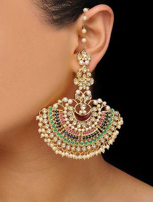 Multicolored Kundan Inspired Pearl Earrings