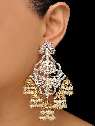 White Gold Tone Polki Earrings