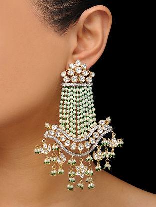 Green Gold Tone Kundan Inspired Pearl Earrings