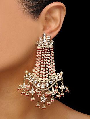 Red Gold Tone Kundan Inspired Pearl Earrings