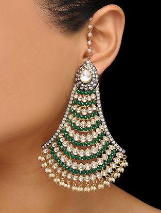 Green Gold Tone Polki Earrings
