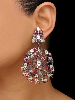 Red Silver Tone Polki Earrings