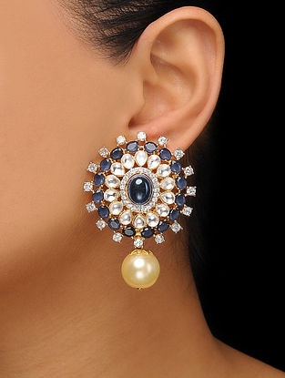 Blue Gold Tone Polki Stud Earrings