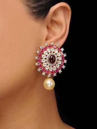 Red Gold Tone Polki Stud Earrings