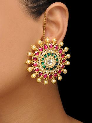 Red-Green Gold Tone Polki Stud Earrings