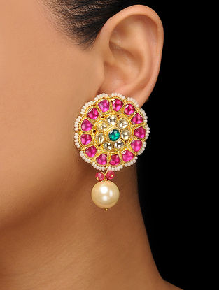 Red-Green Gold Tone Kundan Inspired Stud Earrings