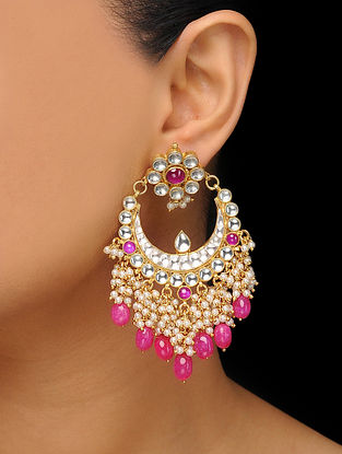 Red Gold Tone Kundan Inspired Earrings