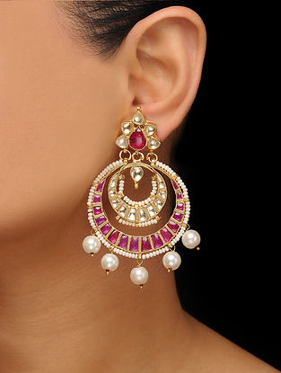 Red Gold Tone Kundan Inspired Earrings