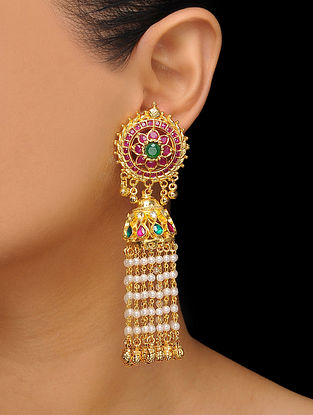Red-Green Gold Tone Kundan Inspired Jhumkas