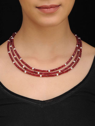 Red Gold Tone Quartz Necklace