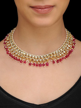 Red Gold Tone Kundan Inspired Quartz Necklace