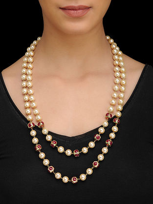 Red Pearls Beaded Necklace