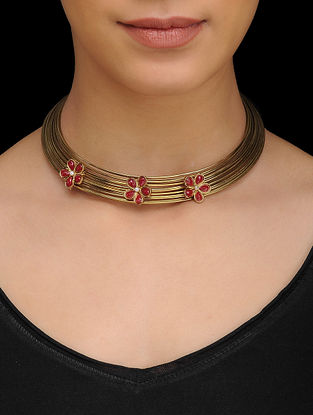 Red Gold Tone Necklace