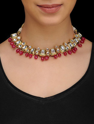Red Kundan Inspired Quartz Necklace