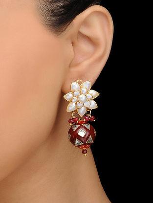Red Gold Tone Meenakari stud Earrings