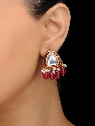 Red Gold Tone Kundan Inspired Quartz Stud Earrings