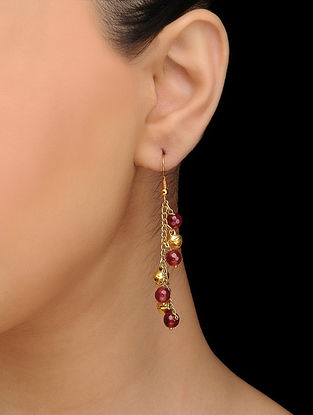 Red Gold Tone Quartz Earrings with Ghungroo