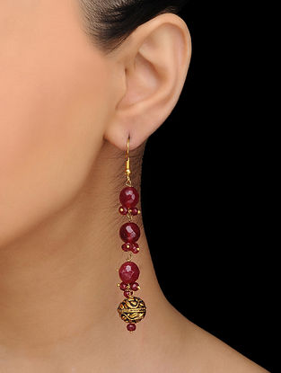 Red Gold Tone Quartz Earrings
