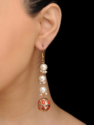 Red Gold Tone Pearls and Coral Earrings