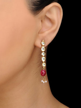 Red Gold Tone Kundan Inspired Quartz Earrings