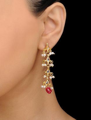 Red Gold Tone Kundan Inspired Quartz Earrings