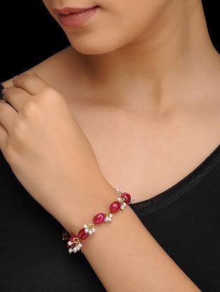 Red Gold Tone Quartz and Pearls Bracelet