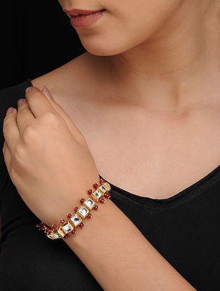 Red Gold Tone Kundan Inspired Quartz Bracelet
