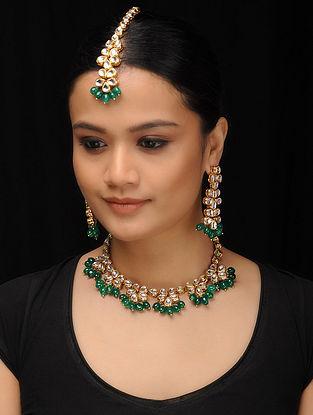 Green Gold Tone Kundan Inspired Jade Necklace