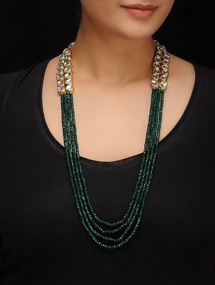 Green Gold Tone Kundan Inspired Jade Necklace