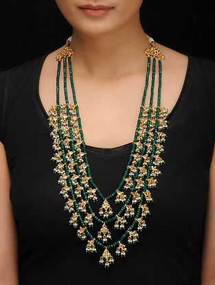 Green Gold Tone Kundan Inspired Jade Rani Necklace