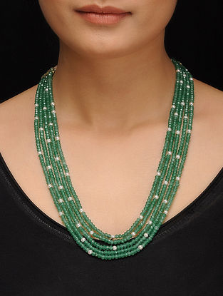 Green Gold Tone Jade and Asymmetric Pearls Necklace