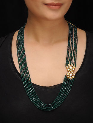 Green Gold Tone Crystal Kundan Inspired Necklace