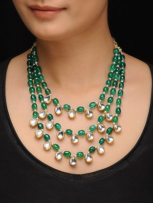 Green Gold Tone Jade Kundan Inspired Layered Necklace