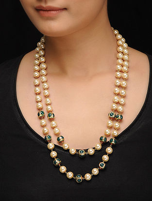 Green Gold Tone Pearls and Stone Necklace