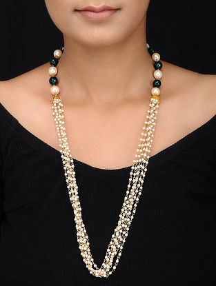 Green Gold Tone Pearls and Onyx Necklace