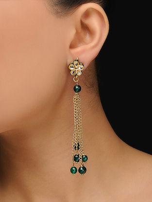 Green Gold Tone Jade Ghungroo Earrings
