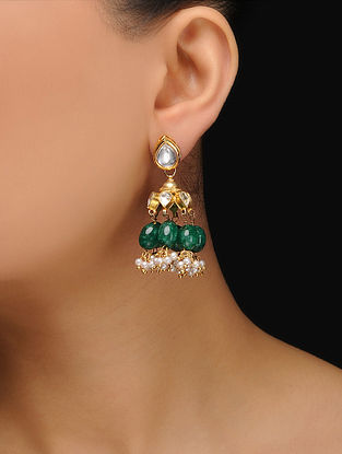 Green Gold Tone Kundan Inspired Jhumki