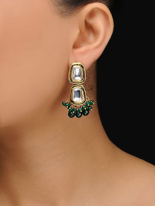 Green Gold Tone Jade Kundan Inspired Stud Earrings