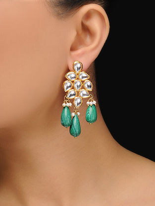 Green Gold Tone Kundan Inspired Malachite Earrings